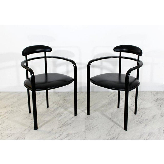 Late 20th Century 1970s Mid-Century Modern Memphis Loewenstein Black Leather Dining Armchairs - Set of 6 For Sale - Image 5 of 10
