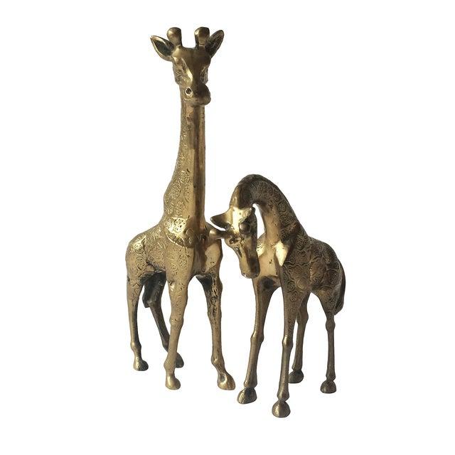 Hollywood Regency Vintage Monumental Brass Giraffes - Pair For Sale - Image 3 of 4