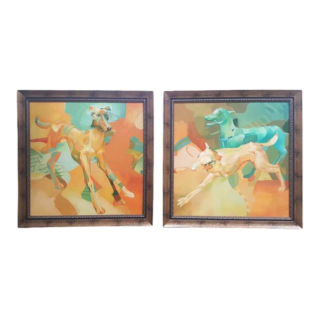 European Surrealist Painting of Dogs Paintings - a Pair For Sale