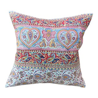 Vintage Colorful Hand Blocked Pillow For Sale