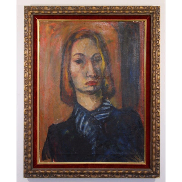 Framed Oil on Canvas Portrait Painting Signed by Annette Dufresne For Sale - Image 10 of 10