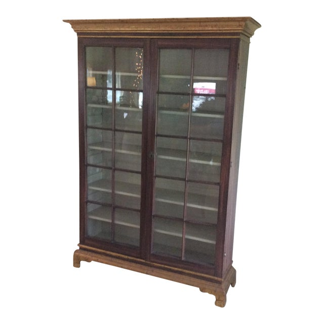 Vintage Hand Painted Glass Door Cabinet For Sale