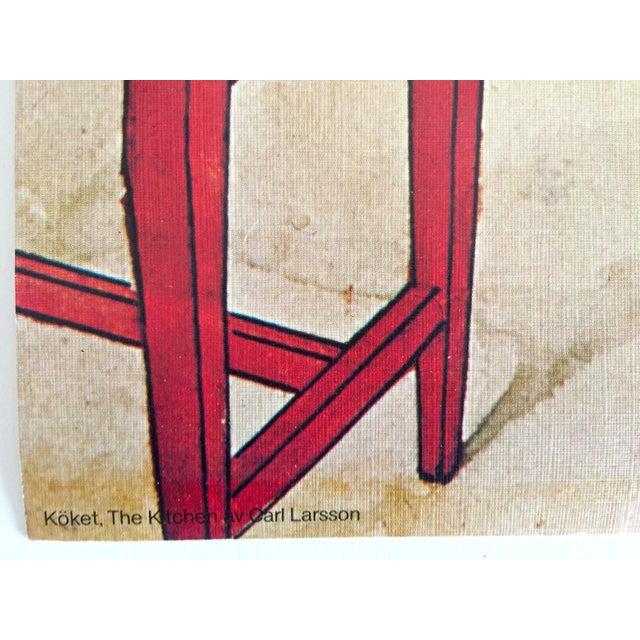 "Blue Carl Larsson Vintage 1972 Original Swedish Lithograph Print Poster "" Koket the Kitchen "" 1898 For Sale - Image 8 of 12"