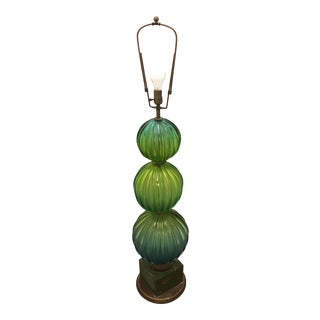1960s Contemporary Green Murano Glass Floor Lamp For Sale