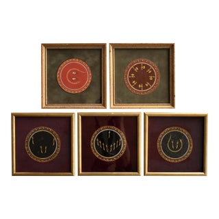 Collection of 5 Antique C. 1900 Framed Indian Mughal Ganjifa Round Lacquered Playing Cards For Sale