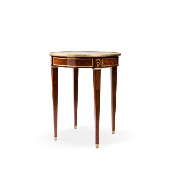 French 1920s French Bronze and Marble Guéridon Side Table with Marquetry For Sale - Image 3 of 3