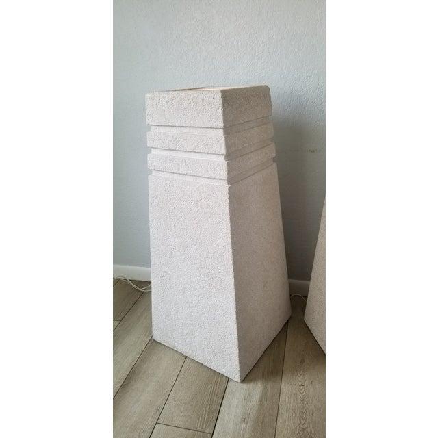 Mid-Century Modern Vintage Postmodern Plastered Wood Illuminated Pedestals. - a Pair For Sale - Image 3 of 13