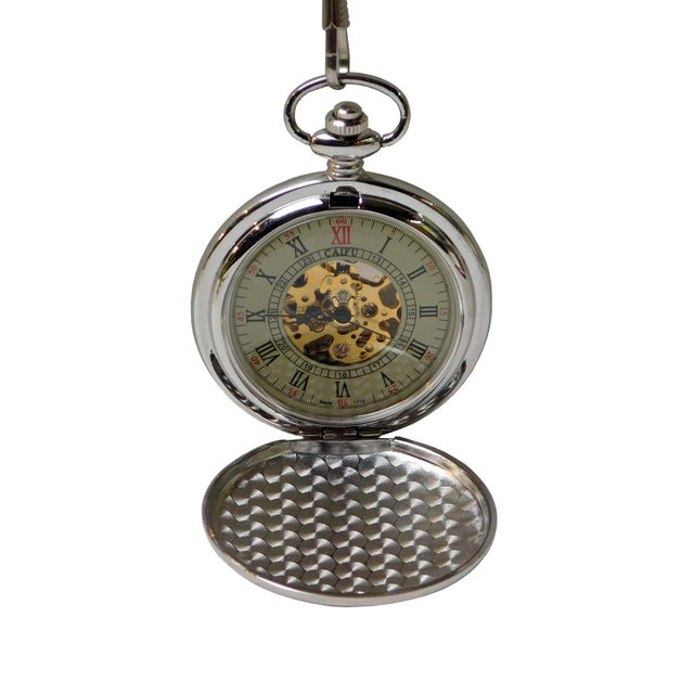 Round Shape Lady & Baby Hugging Painting Chain Pocket Watch For Sale - Image 4 of 7