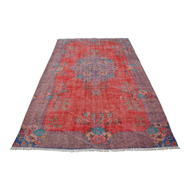 Antique Turkish Wool Rug - 5′10″ × 9′4″ For Sale