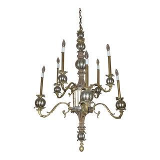 Vintage Modern Medieval Gold & Silver Chandelier For Sale