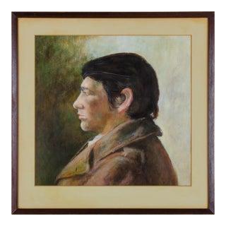 1960s Gentleman in Profile Gouache Portrait Painting For Sale