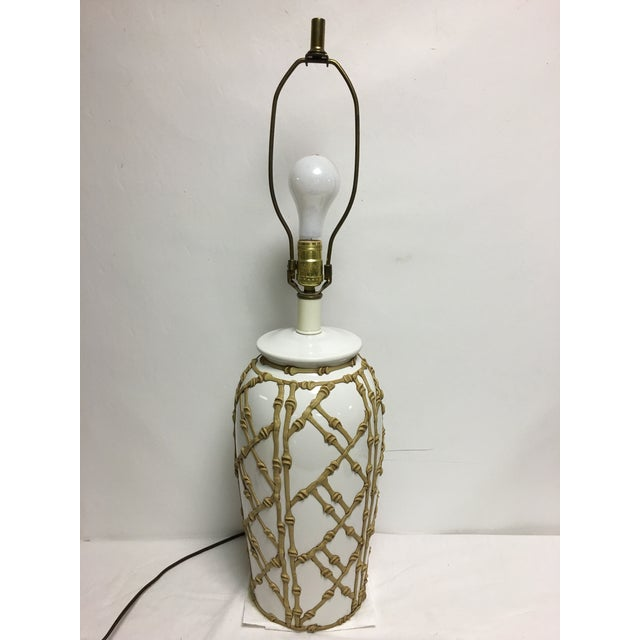 Ceramic Vintage Faux Bamboo Lamp For Sale - Image 7 of 7