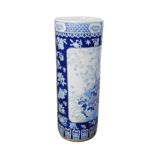 Vintage Chinese Porcelain Blue and White Umbrella Stand For Sale