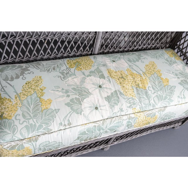 Vintage High Back Wicker Loveseat/Settee in Grey For Sale - Image 10 of 12