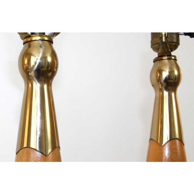 Mid-Century Modern Teak & Brass Lamps - A Pair For Sale - Image 6 of 10