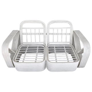 Two Rattan Sofa Frames by Paul Frankl, in Dove White For Sale
