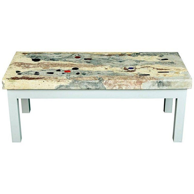Rose, Pink and Grey Marbleized Concrete Coffee Table, Italy, Circa 1950 For Sale - Image 11 of 11