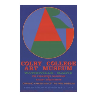 """Robert Indiana Colby College Art Museum 34.75"""" X 22.75"""" Serigraph 1973 Pop Art Blue, Green, Red For Sale"""