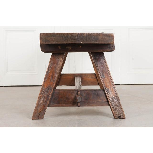 English Early 19th Century Thick Oak Bench For Sale - Image 9 of 12