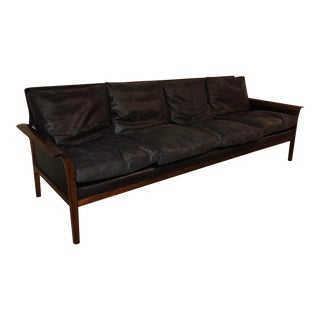 Hans Olsen for Vatne Mobler Danish Modern Leather and Rosewood Sofa For Sale