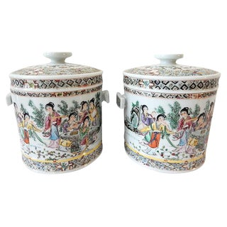 Famille Rose Tea Canisters, S/2 For Sale