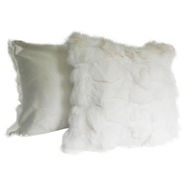 Traditional White Fox Pillows With Silk Lining - A Pair For Sale - Image 3 of 3