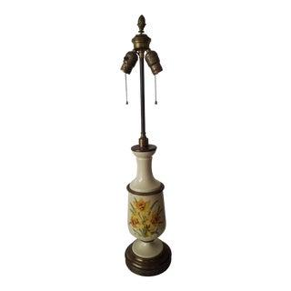 Antique Bouillotte Porcelain & Brass Table Lamp For Sale