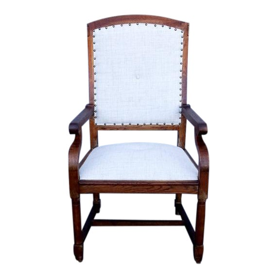 French Louis XIII Style Restored Reupholstered Walnut Throne Armchair For Sale
