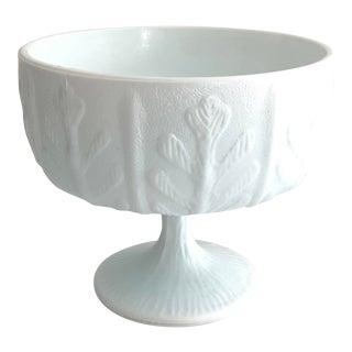 Vintage Ftd Oak Leaf Milk Glass Pedestal Bowl For Sale