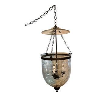 1990s Etched Hundi Glass 3 Lights Hand Blown Glass Bell Jar Lantern Chandelier For Sale