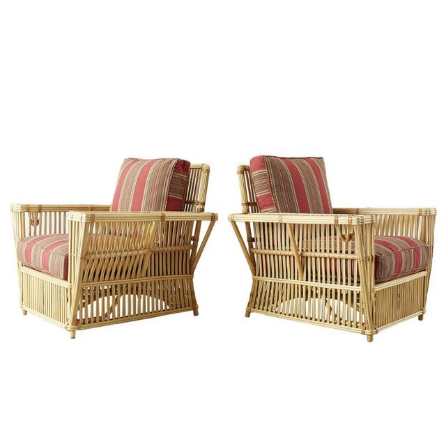 Pair of Bielecky Stick Wicker Rattan President Lounge Chairs For Sale - Image 13 of 13