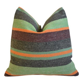 """Green, Gray & Orange Boho-Chic Striped Turkish Carpet Feather/Down Pillow 18"""" Square For Sale"""
