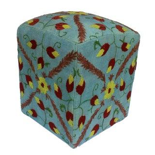 Darryl Lt. Blue/Brown Kilim Hand Embroidered Upholstered Ottoman For Sale