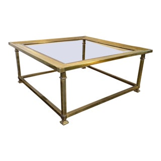 1980s Hollywood Regency Mastercraft Brass Square Coffee Table For Sale