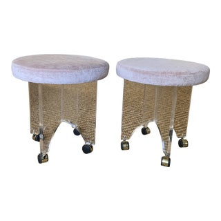 Mid Century Pale Pink Velvet Lucite Stools-a Pair For Sale
