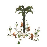 Image of 1960s Whimsical Tole Palm and Ceramic Monkey Chandelier For Sale
