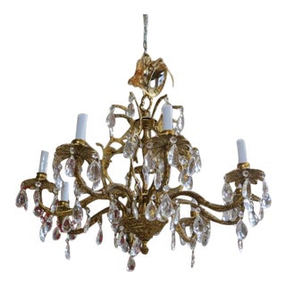 Antique 8 Arm Brass & Crystal Chandelier