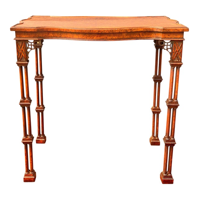 George III Style Burl Walnut and Mahogany China Table Attributed to Gillow For Sale