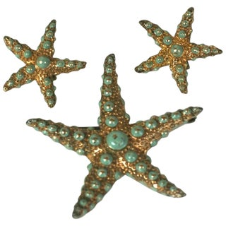 Ralph DeRosa Sterling Vermeil Retro Starfish Suite For Sale