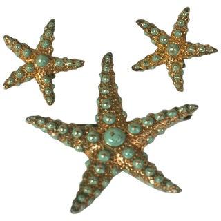 Ralph DeRosa Sterling Vermeil Retro Starfish Suite For Sale