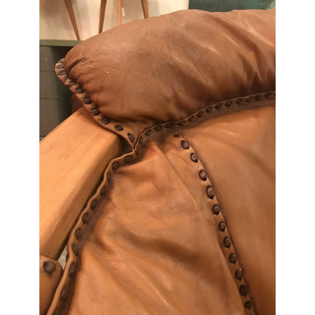 Vintage Mid Century Cognac Brown Leather Sofa For Sale - Image 9 of 13