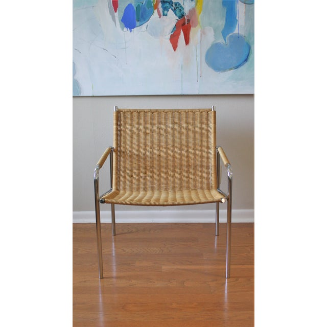 Vintage Martin Visser Style Chrome & Wicker Lounge - Image 2 of 6