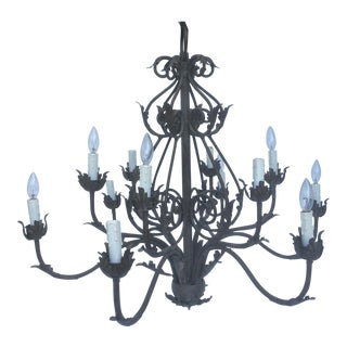 Large Vintage Twelve Light Rococo Chandelier For Sale