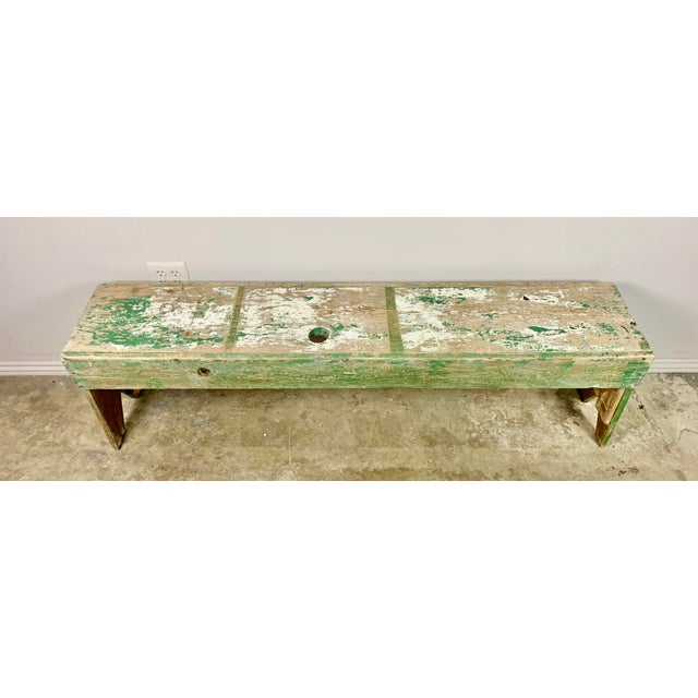 19th C. Painted wood Swedish work bench with beautiful distressed painted finish. This bench has been used and you can...