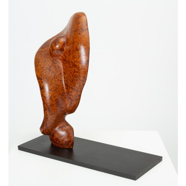 1970s Mounted Abstract Sculpture in Bird's Eye Mahogany For Sale - Image 5 of 7