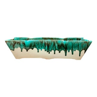 Mid-Century Ceramic Teal Drip Glaze Window Box Style Planter For Sale