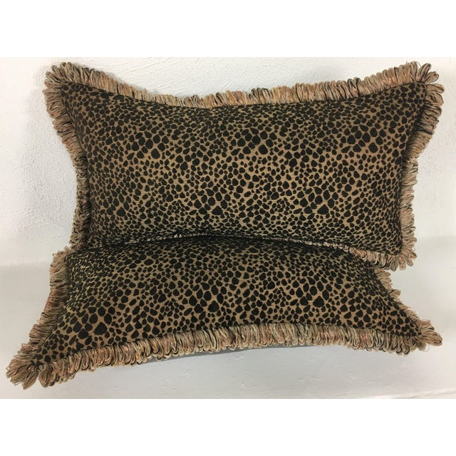 Italian Chenille Faux Leopard Pillows- a Pair For Sale In Philadelphia - Image 6 of 6