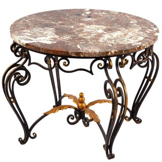 French Art Deco Iron & Marble Coffee Table