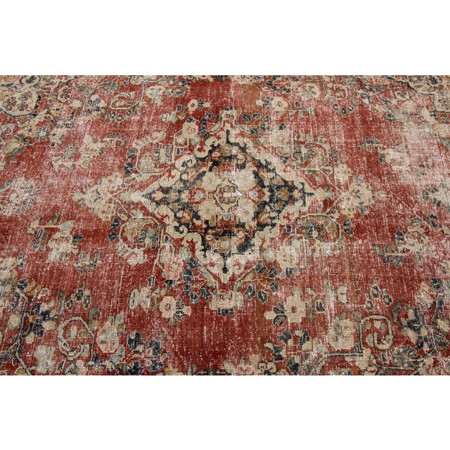 "Textile Apadana-Antique Persian Distressed Rug, 6'6"" X 9'1"" For Sale - Image 7 of 10"