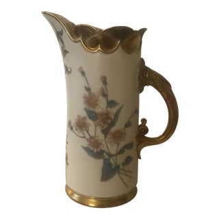 Late 19th Century Royal Worcester Hand Painted Porcelain Pitcher For Sale
